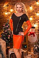 Нарядное женское платье с кожаными вставками 8017, фото 1