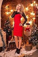 Облегающее трикотажное женское платье 8014 Красное, фото 1