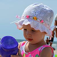 Детская летняя шапочка на девочку х/б панамка вязанная на 3-8 лет