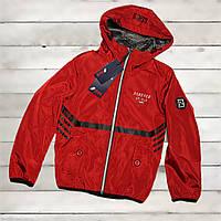 Куртка-ветровка для мальчика 9 -10 лет двусторонняя красная