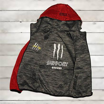 Куртка-ветровка для мальчика 9 -10 лет двусторонняя красная, фото 2