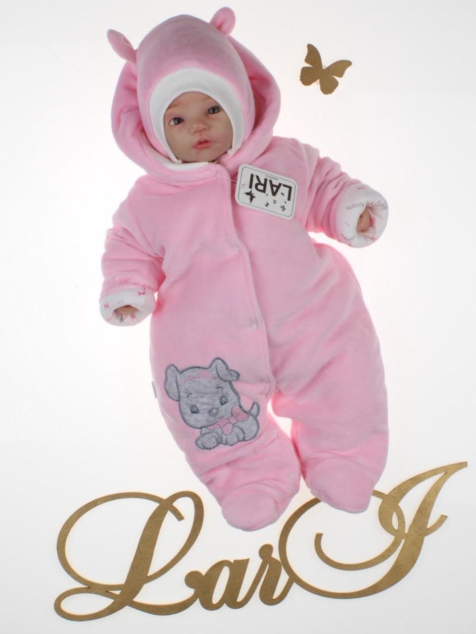 """Демисезонный комбинезон + шапочка для девочки """"Маленькие стиляжки"""", розовый"""