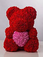 Мишка из роз 40 см с сердцем в подарочной коробке красный