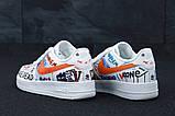 Кросівки чоловічі Nike Air Force 1 в стилі найк форси білі графіті (Репліка ААА+), фото 3