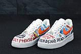 Кросівки чоловічі Nike Air Force 1 в стилі найк форси білі графіті (Репліка ААА+), фото 4