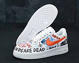 Кросівки чоловічі Nike Air Force 1 в стилі найк форси білі графіті (Репліка ААА+), фото 5