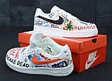Кросівки чоловічі Nike Air Force 1 в стилі найк форси білі графіті (Репліка ААА+), фото 6
