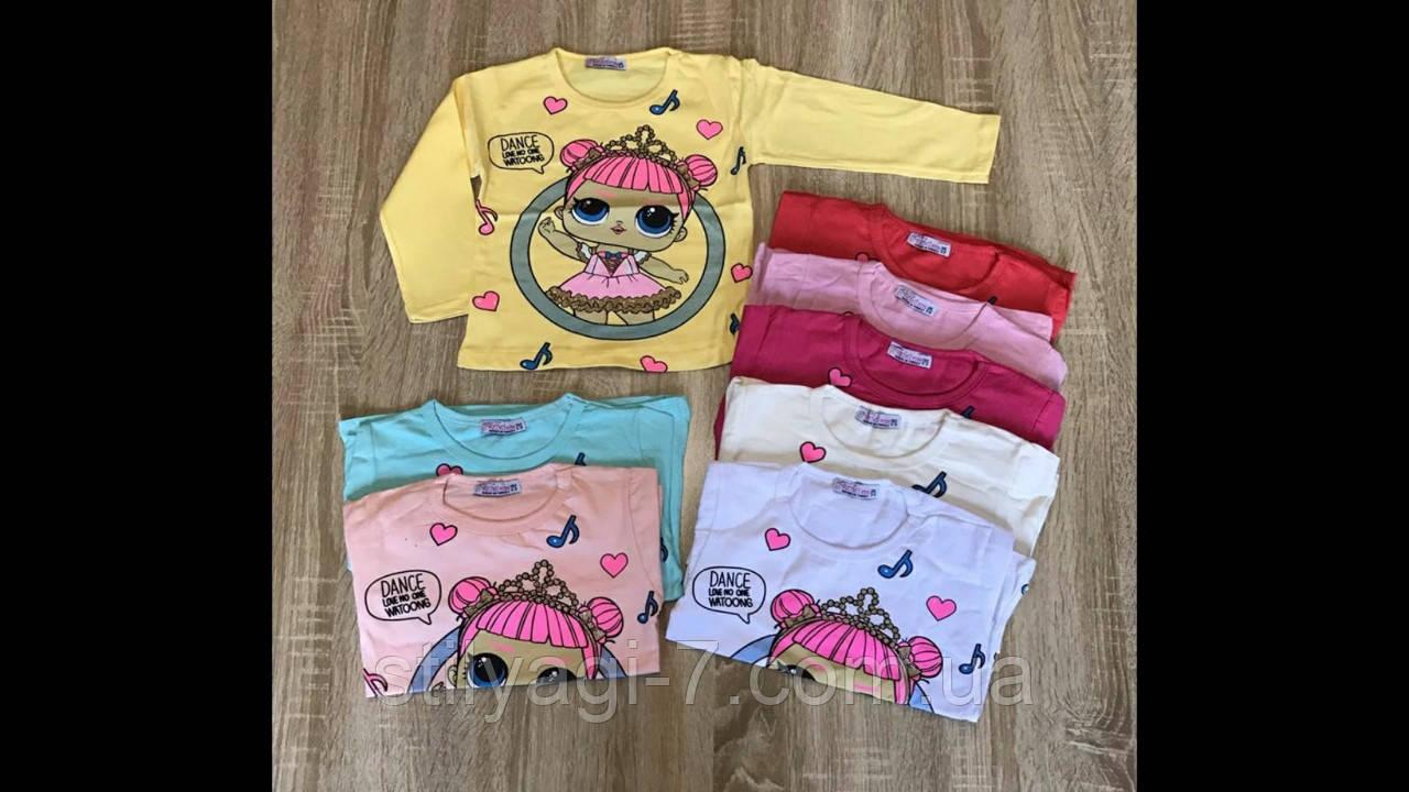 Батник для девочки на 1-4 лет желтого, персик, мятного, красного, розового, белого цвета Лол оптом