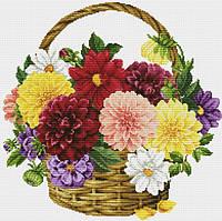 Набор для вышивания крестиком Цветы в корзинке. Размер: 30,6*30 см