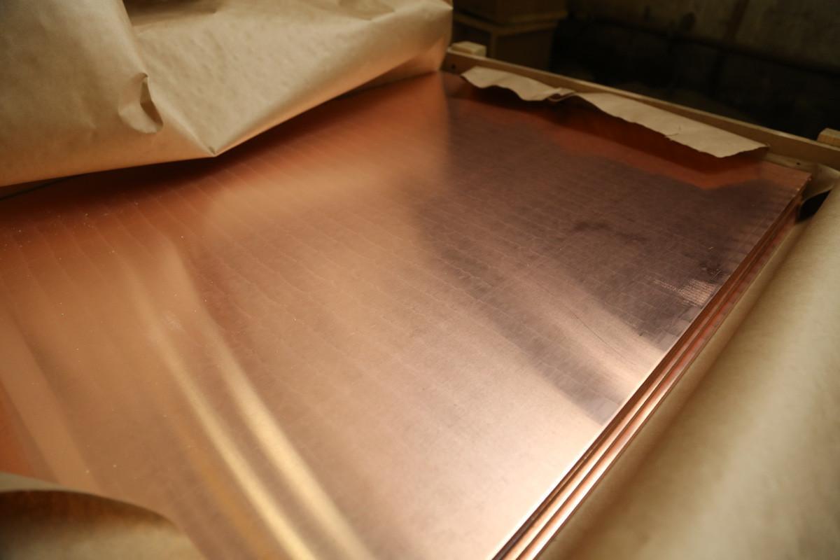 Лист медный 110х600х1500 мм М1, М2 (мягкий, твёрдый)