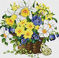Набор для вышивания крестиком Цветы в корзинке. Размер: 16*16 см