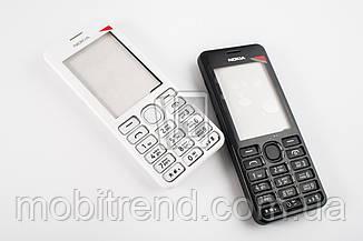 Корпус Nokia 206 чёрный, белый, полный комплект, ААА качество