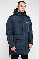 Зимняя мужская куртка на синтепоне большие размеры синий 3030/1, фото 1