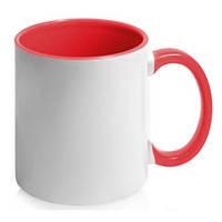 Чашка керамическая. Цвет ручки и внутри - красный. Для нанесения логотипа методом обжиговой деколи