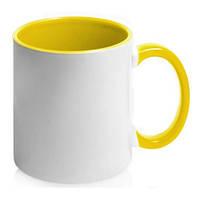 Чашка керамическая. Цвет ручки и внутри - желтый. Для нанесения логотипа методом обжиговой деколи