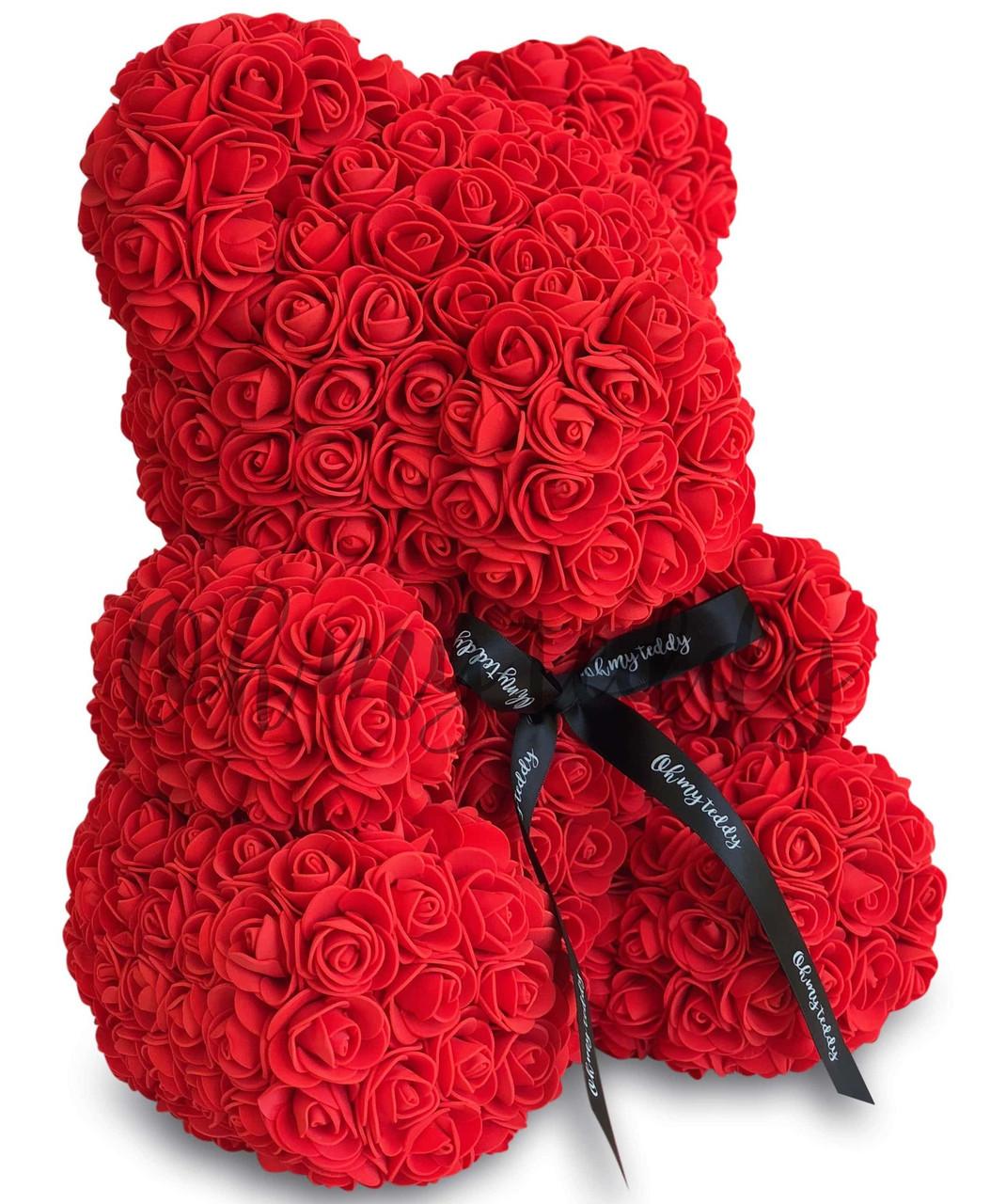 Мишка из роз, подарочный, красный, 25см