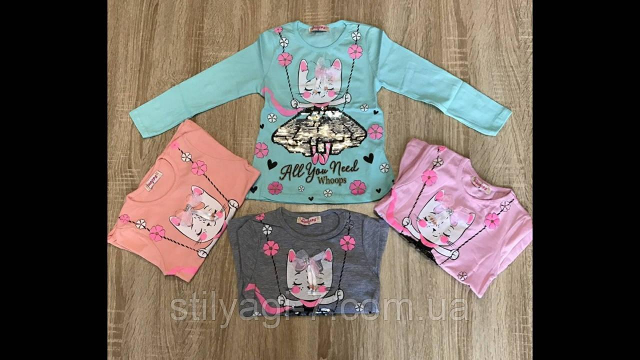 Батник для девочки на 2-5 лет персикового, розового, мятного, серого цвета кошечка оптом