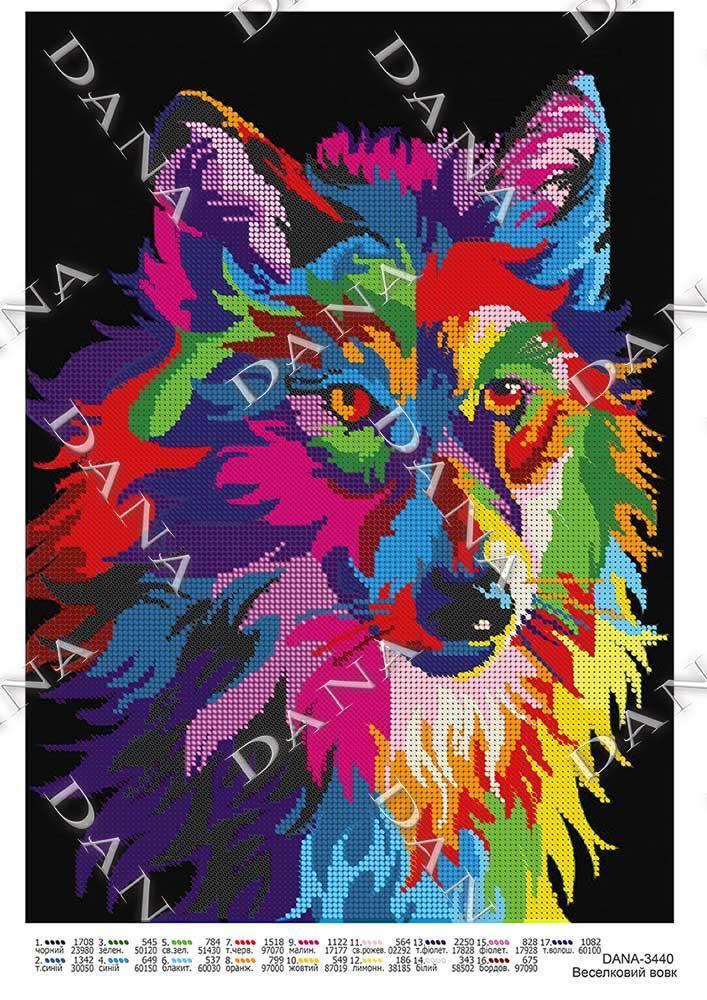 Схема для вышивки бисером Красочный волк