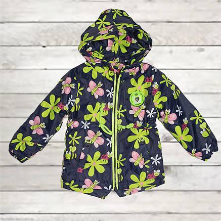 Куртка-парка демисезонная для девочки от 1 года до 4-х лет синяя, фото 2