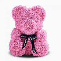 Мишка из роз, подарочный, пудровый, 25см