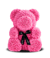 Мишка из роз, подарочный, розовый, 25см