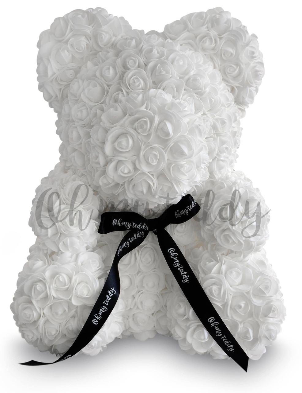 Мишка из роз, подарочный, белый, 25см