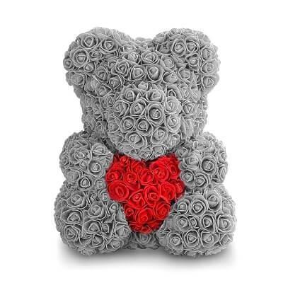Мишка из роз, подарочный, серый с красным сердцем, 40см