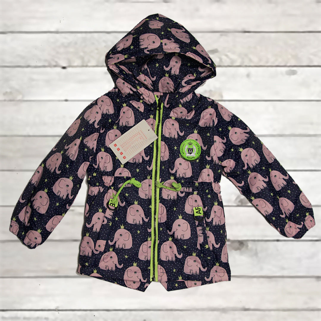 Куртка-парка демисезонная для девочки от 1 года до 4-х лет синяя