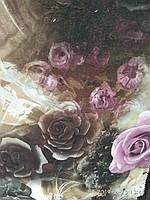 Мебельная ткань обивочная шенилл с эффектом 3D ширина 150 см турция ткань с х/б сублимация цветы фиолетовые, фото 1