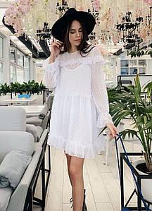 Женское белое шифоновое платье в горошек и с оборками р. SM, LXL