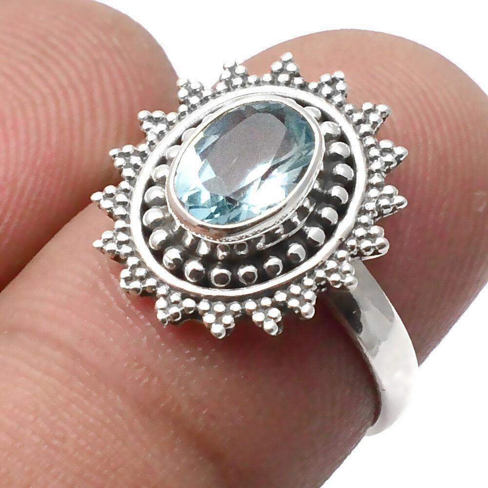 Топаз голубой, серебро 925, кольцо, 1546КЦТ