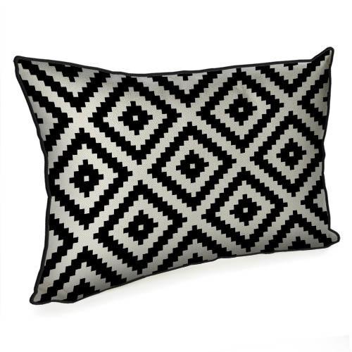Подушка интерьерная с мешковины Чёрно-белый геометрический ромб 45x32 см (43PHB_TFL021_BL)