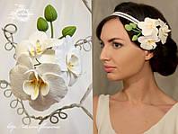 """""""Веточка орхидеи"""" из полимерной глины на заколке, фото 1"""