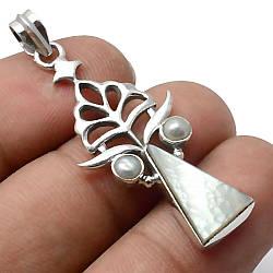 Перламутр і перли, срібло 925, кулон, 427ПП