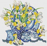 Набор для вышивания крестиком Цветы. Размер: 26*25 см