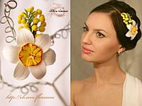 """""""Нарцисс с мимозой"""" авторская заколка  для волос из полимерной глины. , фото 1"""