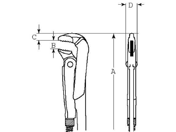 """Универсальный классический трубный ключ  Захват до 51 мм (2""""), BAHCO Швеция, фото 2"""