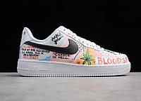 "Кроссовки мужские кожаные Nike Air Force 1 Low Graffiti Harlem White ""Белые с граффити"" найк аир форс 44"