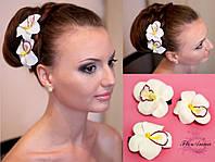 """""""Белая орхидея"""" (1шт) Заколка из полимерной глины. Подарок девушке, фото 1"""