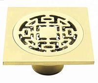 Трап для душа 100*100 мм. латунь в золоте с механическим клапаном VE 450 G