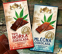 Carla. Молочный шоколад  с семенами конопли 80гр. Чехия