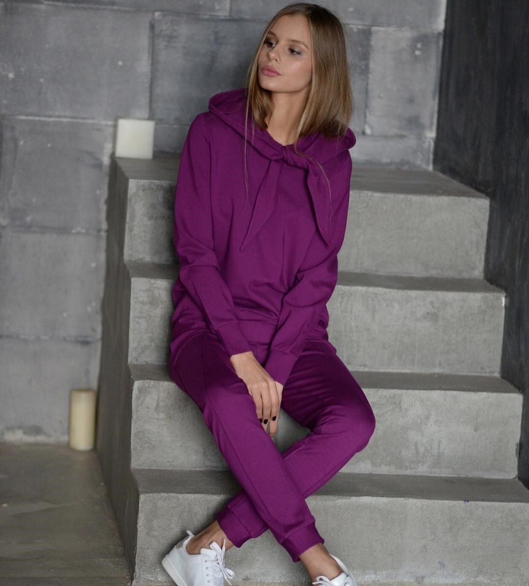 f12509534ada Модный женский костюм с капюшоном на завязках, цвета фуксии - Интернет-магазин  одежды и