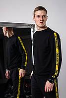 Спортивный костюм мужской, свитшот и спортивные штаны Офф-Вайт с лампасами, цвет черный
