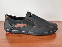 Чоловічі туфлі мокасини чорні з коричневими вставками, фото 1