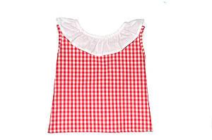 Блуза- топ детская «Клетка» без рукава с бантом
