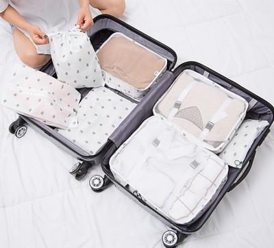Набор органайзеров в чемодан из 7 предметов Genner кактусы на белом 01003/04