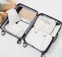 Набор органайзеров в чемодан из 7 предметов Genner фламинго на белом 01003/04