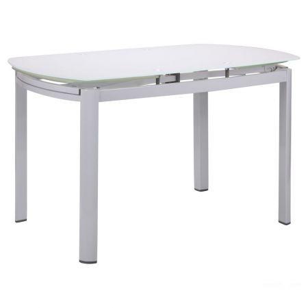 Стол обеденный раскладной Кассандра B179-71 1800(1200)*800*770 База белый/Стекло белый, TM AMF