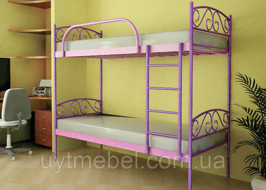 Кровать 2-х ярусная VERONA DUO 800х1900 красный лак (МЕТАКАМ)