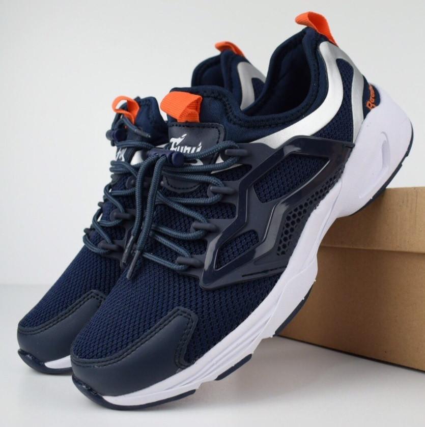 Мужские кроссовки Reebok Fury Adapt синие с оранжевым. Живое фото. Реплика